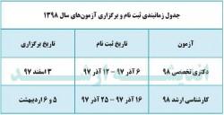 جدول زمانبندی ثبت نام و برگزاری آزمون های سال 1398